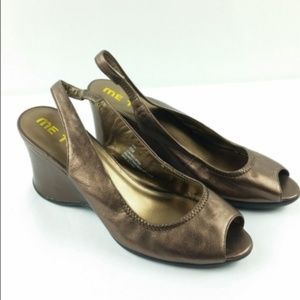 ME TOO Syd 8 Bronze Leather Slingback Wedges S5-1